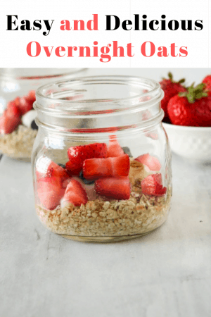 Strawberry chocolate chip overnight oats are an easy and delicious dairy and gluten free breakfast idea. #breakfast #overnightoats