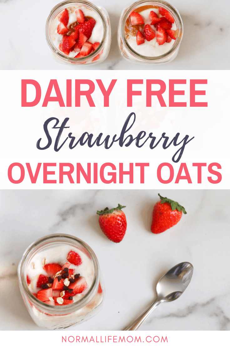 Easy and delicious dairy free strawberry chocolate chip overnight oats. A make ahead breakfast perfect for busy mornings #dairyfreebreakfast #oats #overnightoats #oatsrecipe #healtyoats #recipeswithoats #breakfastwithoats #overnightoatsforkids #overnightoat #overnightoatshealthyrecipe