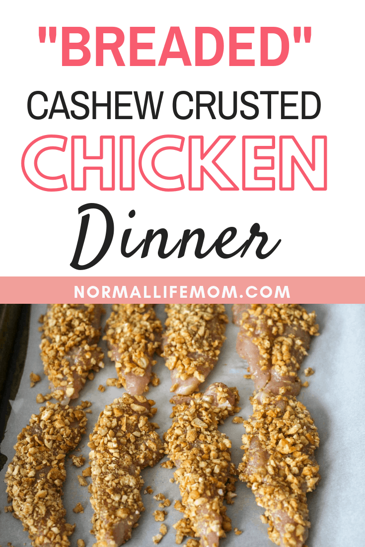 Easy and delicious family friendly dinner. Crunchy cashew crusted chicken is breaded with cashews instead of breadcrumbs making in gluten free. Full of savory and sweet this is a crowd pleaser. #cashewchicken #chicken #chickendinner #chickenrecipes #easychickenrecipe #easychickendinner #familyfood #chicken #food
