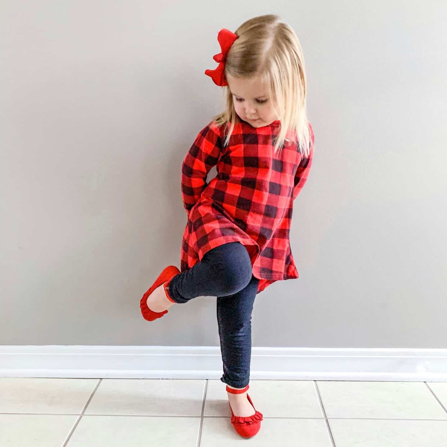 Buffalo plaid dress for toddler
