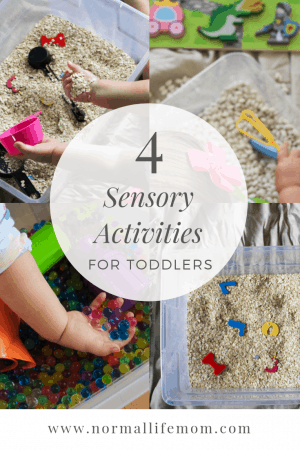 Indoor activities for toddlers. Adding a few simple play through learning ideas to a sensory box. Discussing sorting, shapes, letters and fine motor skills. #parenting #toddlers