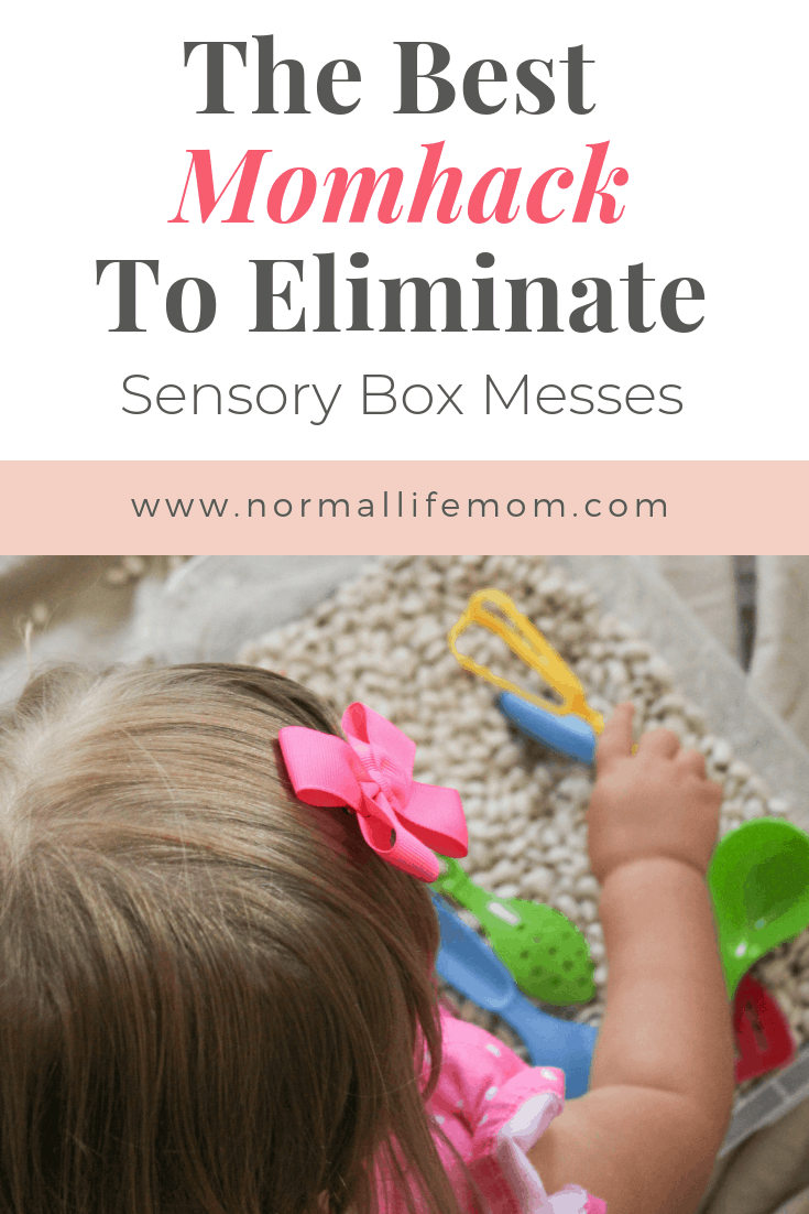 The best mom hack for easy cleanup after sensory box play. Easy cleanup using one small thing you already have around the house in order for easy cleanup #sensorybox #toddler #preschool #parenting
