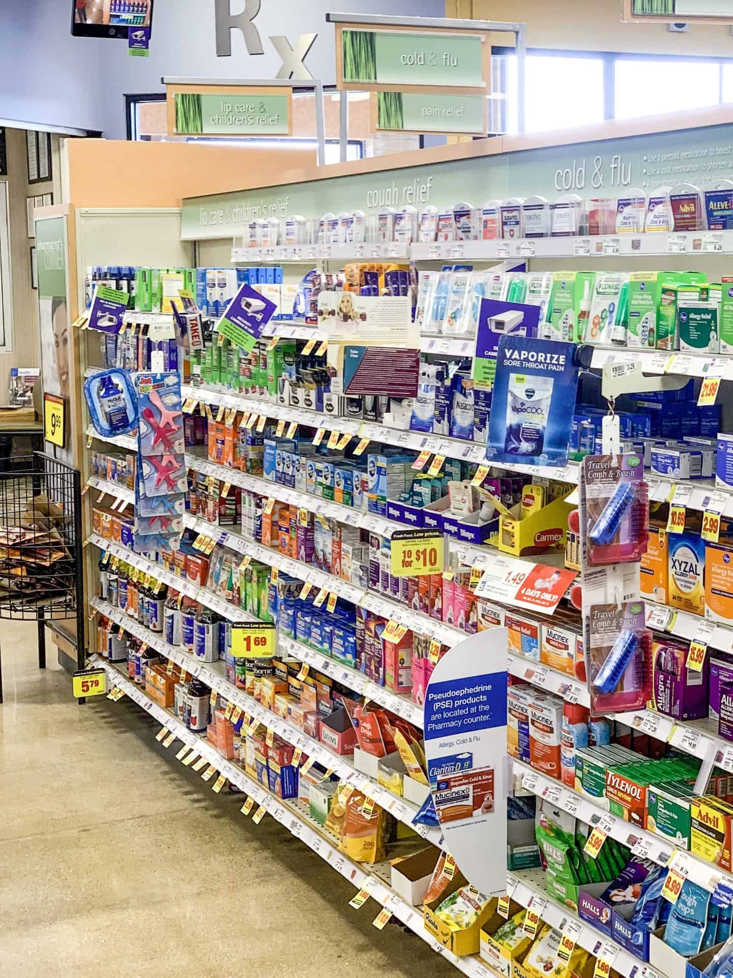 Medicine aisle in Kroger, Illinois is easily accessible and located right at the front of the store so you don't have to go far for all of your sick day essentials.