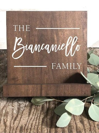 This wooden recipe holder also serves as a beautiful sign in the kitchen displaying the families name. A unique gift giving idea for the cooking mom in your life.