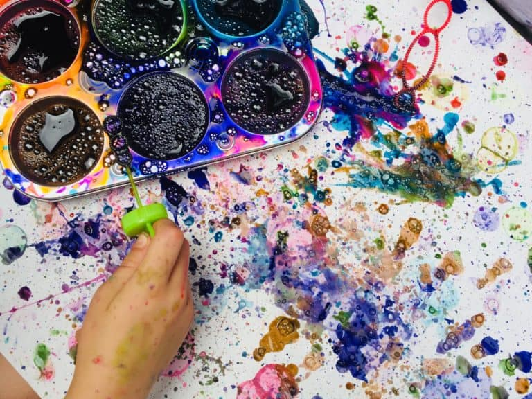Bubble painting for kids