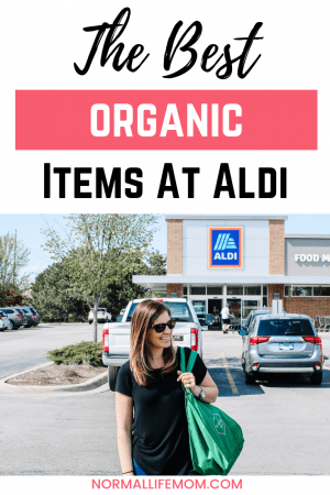 How I save tons of money shopping for organic food at Aldi. My favorite organic Aldi items #aldi #aldiproducts #organicfood #moneysavingtips