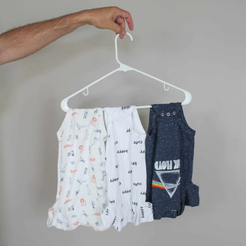 Baby Onesie Trick for saving space in babies closet #babytips #babyhacks #babytricks