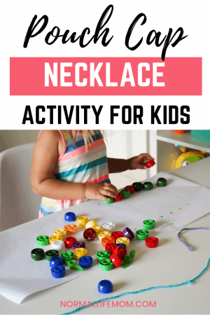 Pouch cap activities for toddlers and preschoolers. Transform pouch caps into a beautiful necklace using a pattern your child creates. Teach basic threading skills in this fun activity! #pouchcaps #babyfoodpouchcaps #recycleandplay #pouchcapcrafts #pouchcapideas #thingstodowithpouchcaps #pouchcapactivities #threadingactivities #toddlerplay #preschoolactivities