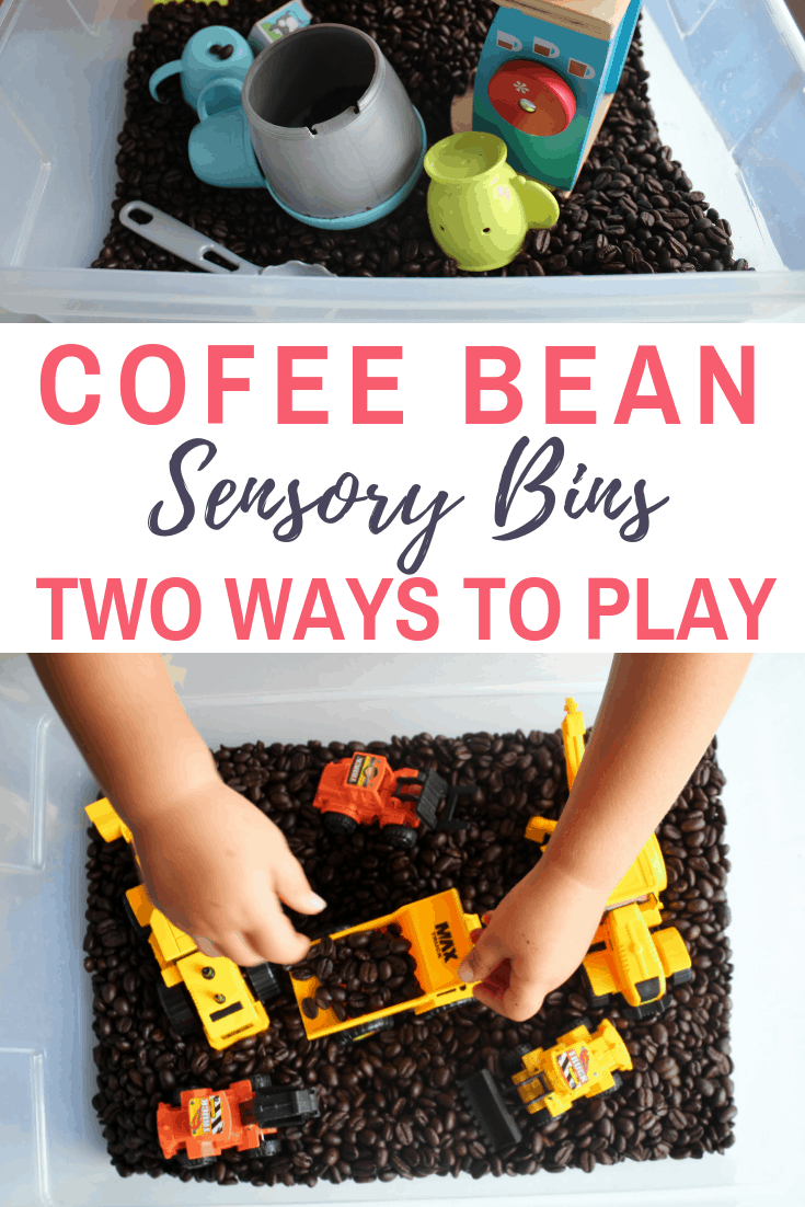 Coffee bean sensory bar done two different ways #toddlersensorylplay #sensoryplay #sensorybin #sensorybox
