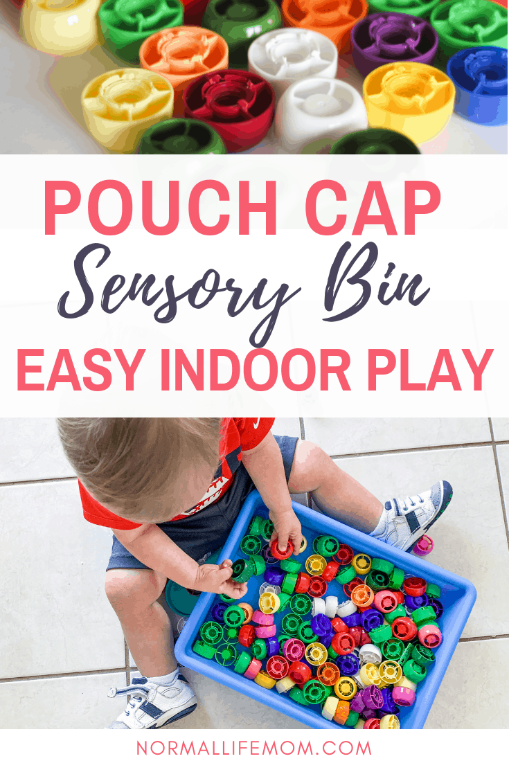 1 year old activities. Create a fun sensory bin using pouch caps. A fun diy recycle and play activity perfect for toddlers. #sensorybin #sensorybinfillers #toddleractivities #1yearoldactivities #indoorplay #indooractivities