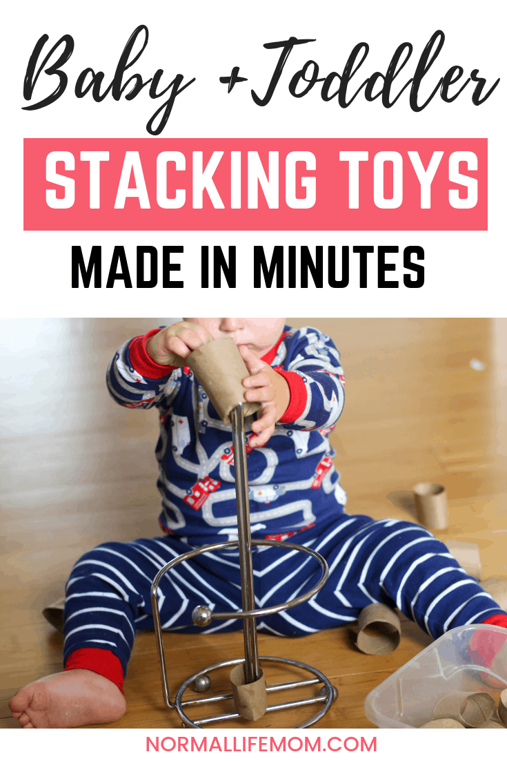 Baby and toddler stacking toys made using everyday objects. A fun way for your baby to learn the concepts of stacking but not having to break the bank. Fun and easy ways for your baby and toddler to play #toys #babyactivity #1yearoldactivity #toddlerplay #milestone #stacking #babytoys #diytoys