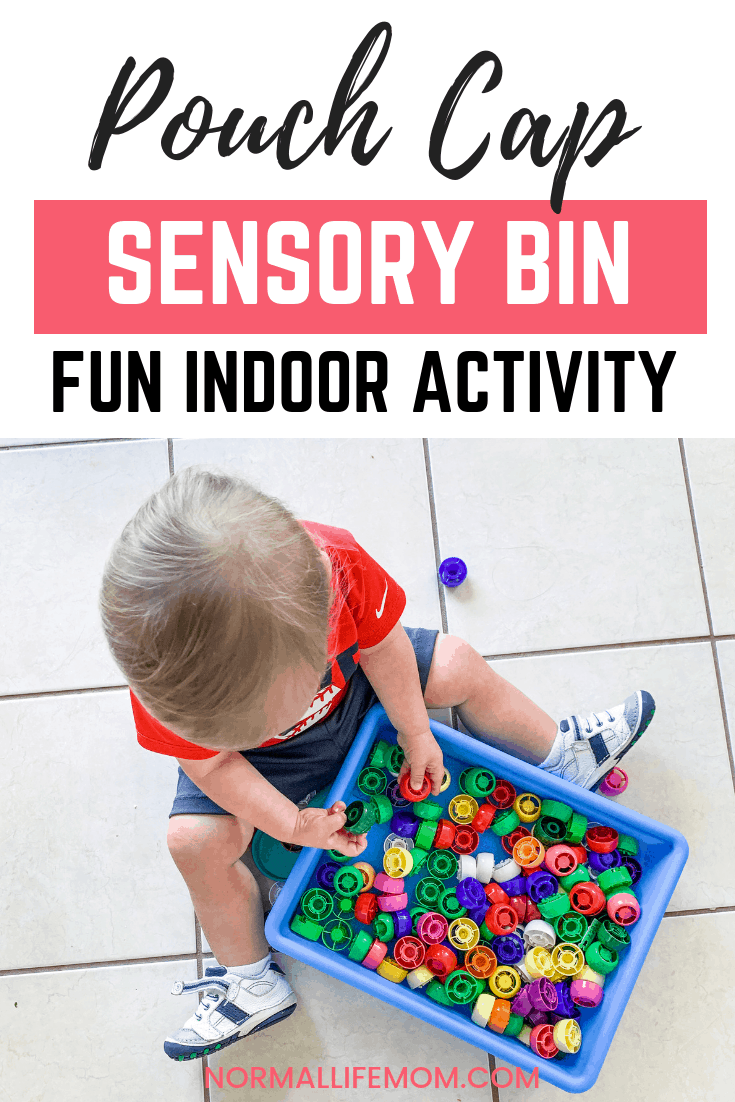 Pouch cap sensory bin. Reusing old pouch caps and turning them into a fun play based learning sensory box for toddlers and young children. #sensorybox #sensoryplay #sensorybin #sensoryactivities #indooractivities #toddleractivities