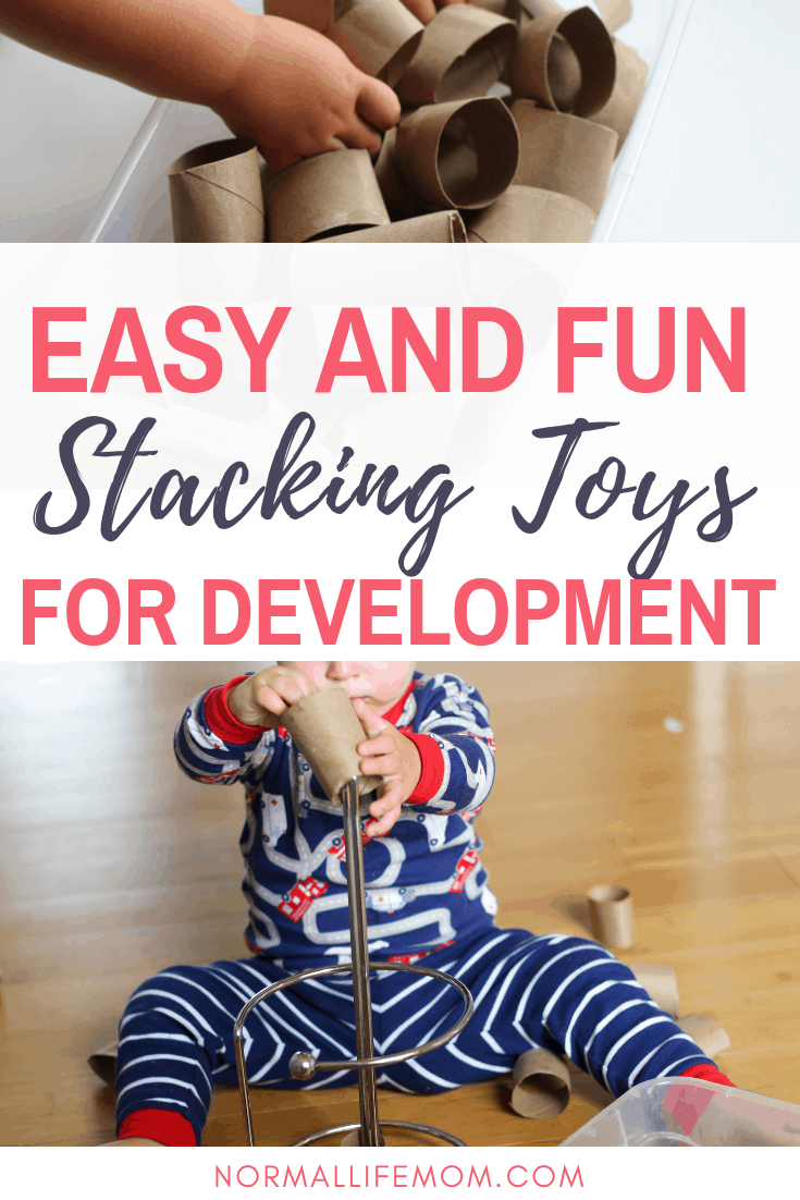 Easy and fun stacking toys for development. Easy ways for your child to learn and play using everyday household items #babytoys #babyplay #milestones #toddleractivity #stacking #toddleractivities #1yearoldplay
