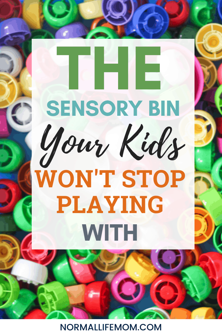 sensory bin for toddlers and preschoolers that is a great boredom buster. #pouchcaps #sensorybin #sensorybins #playbasedlearning