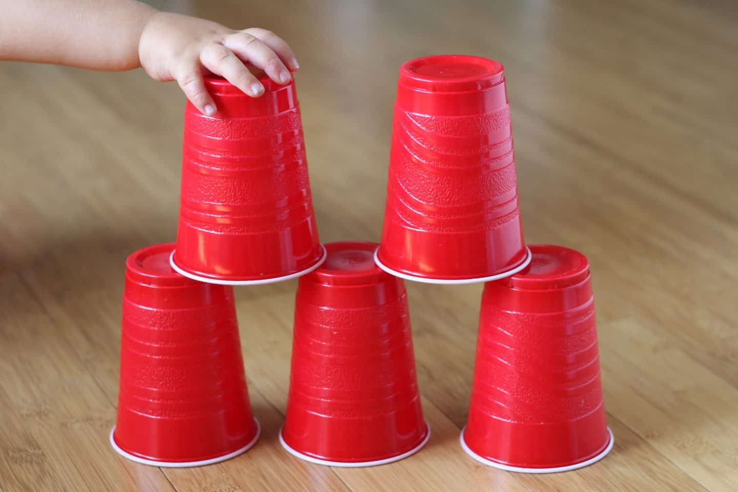 stacking toy using plastic cups