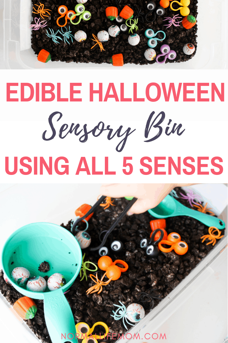 how to create a fun halloween sensory bin for toddlers and preschoolers. A delicious and fun way to play using Oreos as the sensory bin filler #indooractivities #toddleractivities #sensorybin #sensorybinfiller #ediblesensorybin #sensorybox #halloweenactivities