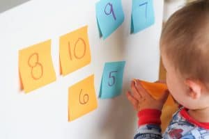 indoor baby activity using post-its