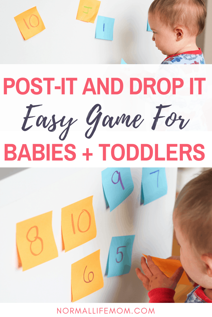easy post-it note game for babies and toddlers. Sticking post-it notes on wall nd watching baby drop them on the ground and try to re-post them to the wall #babyactivities #toddleractivities #babyplayideas #babyplay #funbabystuff #indoorgames #babydevelopment