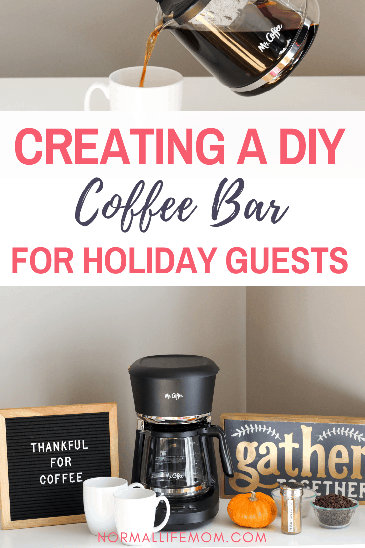 #Ad How to create a DIY coffee bar that your guests will love. A fun way to bring your holiday guests together the morning after a holiday with a fun and easy dairy free coffee recipe #coffeebar #diycoffeebar #dairyfreecoffee #coffeerecipe #coffeebar