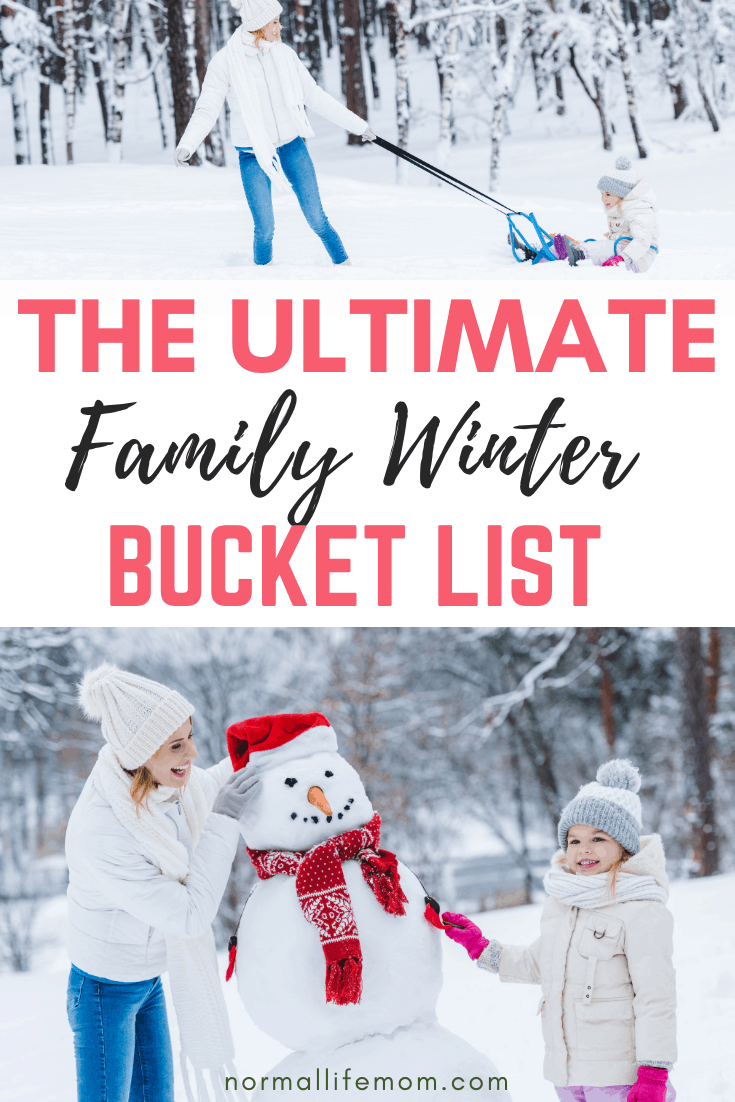 Winter family bucket list that the whole family will llove completing. Fun ideas for the winter time #snowdayactivities #bucketlist #winterbucketlist #letitsnow #preschoolsnow #snowdayactivities #familyactivities #snowfall #familybucketlist #decemberbucketlist