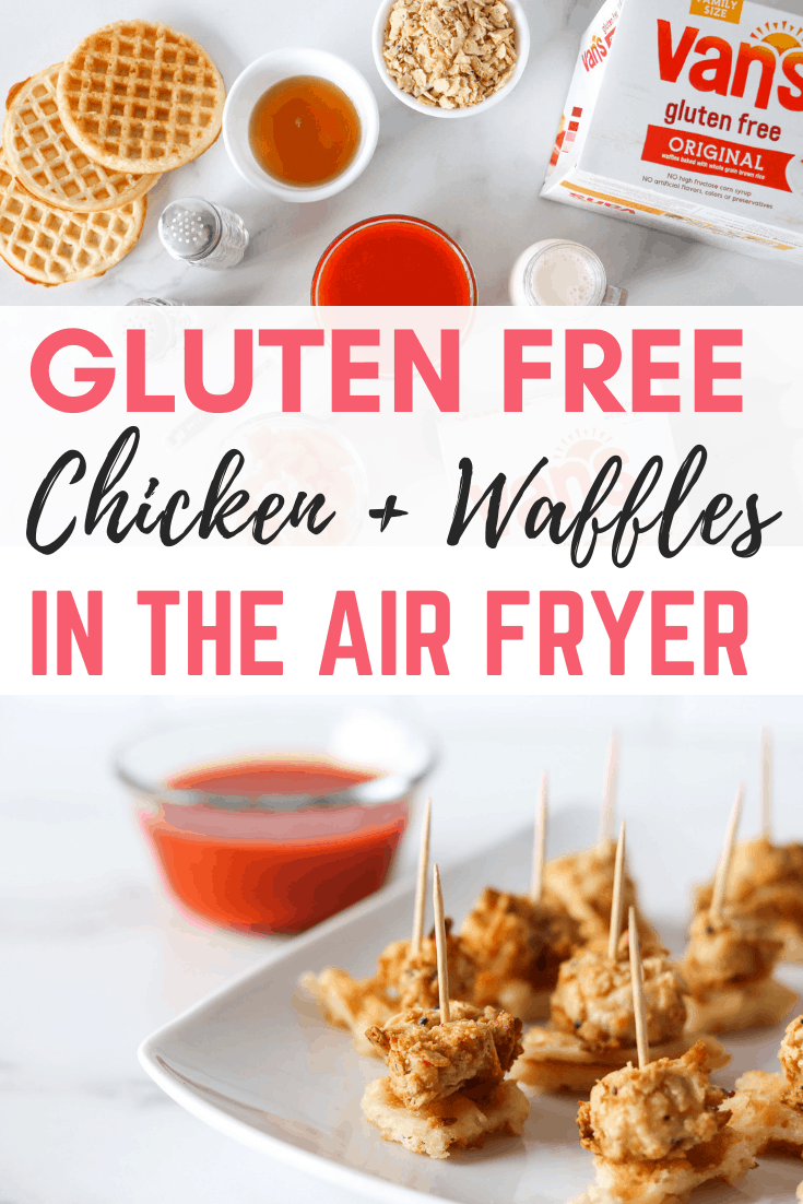 Delicious gluten free chicken and waffles made in the air fryer using a few ingredients #ad #airfryer #chickenandwaffles #VansFoodsWaffles #vansfoods #glutenfreerecipes #glutenfree #glutenfreesnack #glutenfreeappetizer #dairyfreemeals #dairyfreeappetizer