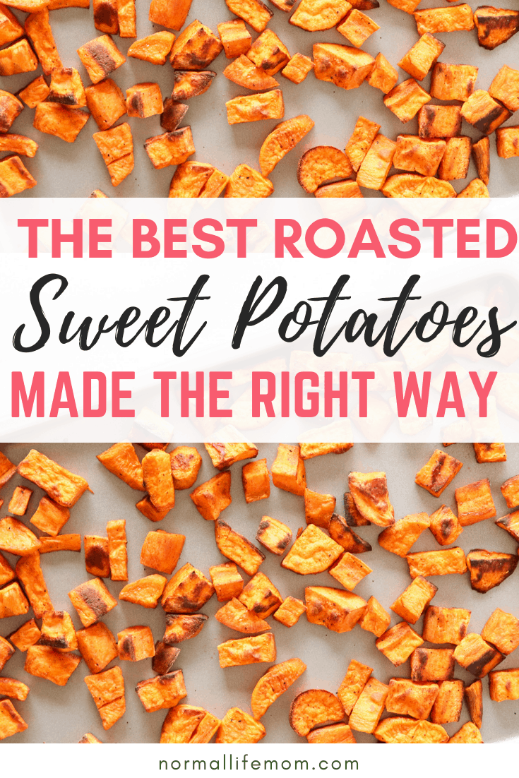 Crispy roasted sweet potatoes. Delicious and easy to make sweet potatoes recipe that keeps your sweets nice and crispy@ #sweetpotatoerecipe #potatoes #whole30potatoes #potatoeswhole30 #recipespotatoes #cooksweetpotatoes #bakedsweetpotatoes #roastedpotatoes #potatoerecipessweet #cleaneatingsweetpotatoes #